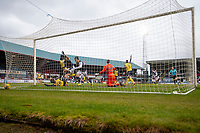 20th February 2021; Dens Park, Dundee, Scotland; Scottish Championship Football, Dundee FC versus Queen of the South; Controversy as the referee Barry Cook disallowed a close range goal effort from Osman Sow of Dundee
