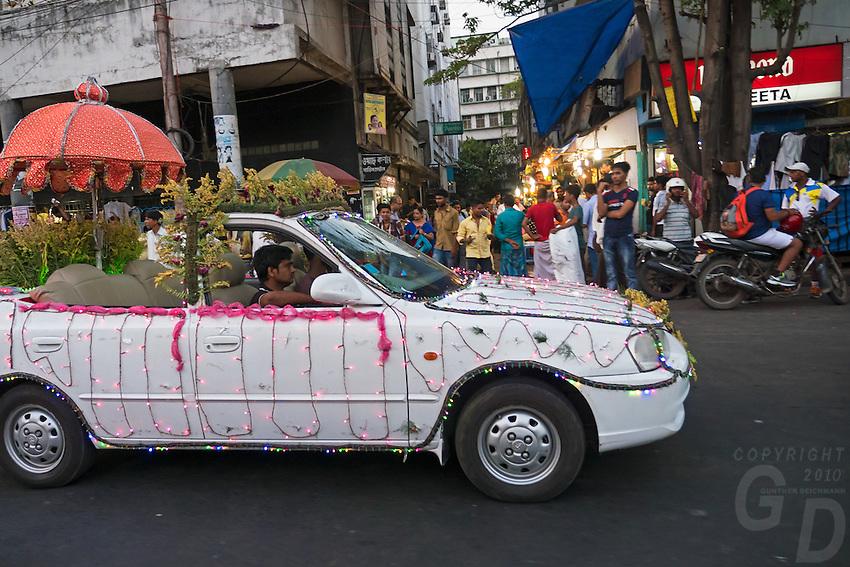 A Wedding Car on the streets in Kolkata