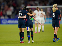 ORLANDO, FL - MARCH 05: Christen Press #23 of the United States scores a goal and celebrates with Rose Lavelle #16 during a game between England and USWNT at Exploria Stadium on March 05, 2020 in Orlando, Florida.
