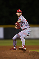 St. John's Red Storm relief pitcher Nick Guzzi (45) in action against the Western Carolina Catamounts at Childress Field on March 13, 2021 in Cullowhee, North Carolina. (Brian Westerholt/Four Seam Images)