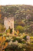 The old ruin of a tower in the town Tournon across the river from Tain l'Hermitage. Tournon-sur-Rhone, Ardeche Ardèche, France, Europe