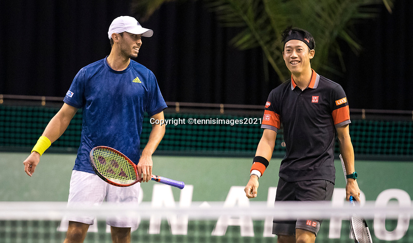Rotterdam, The Netherlands, 2 march  2021, ABNAMRO World Tennis Tournament, Ahoy, First round doubles: Kei Nishikori (JPN) / Ben Mclachlan (JPN).<br /> Photo: www.tennisimages.com/
