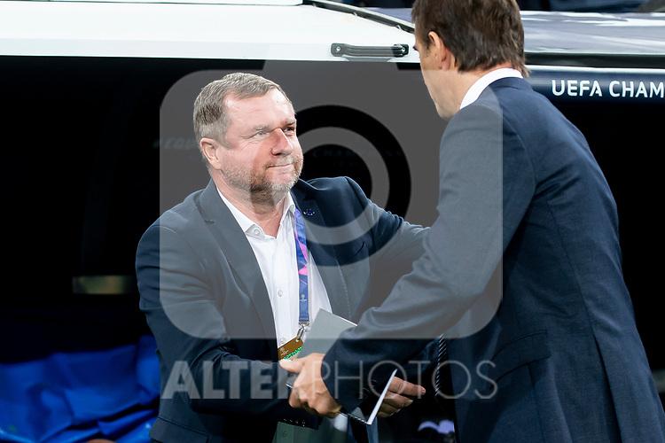 Real Madrid coach Julen Lopetegui and FC Viktoria Plzen coach Pavel Vrba during UEFA Champions League match between Real Madrid and FC Viktoria Plzen at Santiago Bernabeu Stadium in Madrid, Spain. October 23, 2018. (ALTERPHOTOS/Borja B.Hojas)