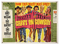 BNPS.co.uk (01202 558833)<br /> Pic: Ewbank's/BNPS<br /> <br /> Pictured: Carry On Cowboy (1965) poster sold for £1,400. <br /> <br /> A saucy collection of more than 20 vintage film posters from the 'Carry On' films have sold for almost £10,000.<br /> <br /> The 30ins by 40ins British quad posters were used on cinema billboards to advertise the comedy movies from the 1960s and '70s.<br /> <br /> The colourful posters depict comedy actors like Sid James, Kenneth Williams and Barbara Windsor who regularly starred in the comedy caper franchise.