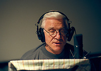 Montreal (Qc) CANADA - July 22, 1999<br /> -File Photo - EXCLUSIVE<br /> <br /> Leslie Nielsen recording dialogs.<br /> photo (c) Pierre Roussel - Images Distribution