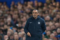 Chelsea's manager Maurizio Sarri during the UEFA Europa League match between Chelsea and Malmo at Stamford Bridge, London, England on 21 February 2019. Photo by Andrew Aleksiejczuk / PRiME Media Images.