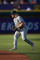 Greensboro Grasshoppers second baseman Aaron Shackelford (44) on defense against the Winston-Salem Dash at Truist Stadium on June 15, 2021 in Winston-Salem, North Carolina. (Brian Westerholt/Four Seam Images)