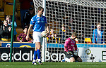 Motherwell v St Johnstone....28.04.12   SPL.Alan Mannus and Dave McCracken as the fifth goal goes in.Picture by Graeme Hart..Copyright Perthshire Picture Agency.Tel: 01738 623350  Mobile: 07990 594431