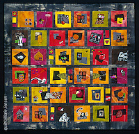 """""""My Life In Pictures""""; Contemporary quilt by artist Marie Jensen, using appliqué, a fusible web and hand painted fabrics. 41""""x42"""""""