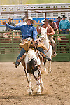 A cowboy holds on tightly during saddle bronc riding at the Jordan Valley Big Loop Rodeo, Ore.