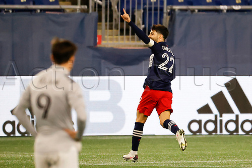20th November 2020; Foxborough, MA, USA;  New England Revolution forward Carles Gil celebrates his goal during the MLS Cup Play-In game between the New England Revolution and the Montreal Impact