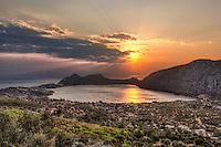 Sunset at Vouliagmeni lake in Perachora, Greece