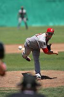 Bradin Hagens #16 of the Visalia Rawhide pitches against the High Desert Mavericks at Stater Bros. Stadium on May 16, 2012 in Adelanto,California. (Larry Goren/Four Seam Images)
