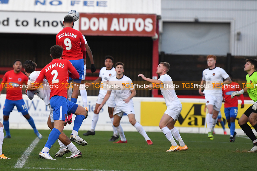 Paul McCallum of Dagenham and Redbridge FC scores the first Goal and celebrates during Dagenham & Redbridge vs Ebbsfleet United, Buildbase FA Trophy Football at the Chigwell Construction Stadium on 19th December 2020