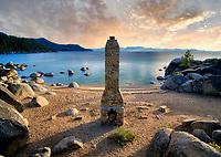 Historic chimney at Chimney Beach. Lake Tahoe, Nevada