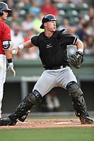 Catcher Casey Schroeder (17) of the Kannapolis Intimidators plays defense in a game against the Greenville Drive on Friday, July 14, 2017, at Fluor Field at the West End in Greenville, South Carolina. Greenville won, 2-0. (Tom Priddy/Four Seam Images)