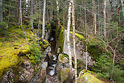 Franconia Notch State Park - Glacial Boulders near Pine Sentinel Covered Bridge in Lincoln, New Hampshire USA