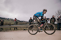 Cyclocross world champion Wout Van Aert (BEL/Veranda's Willems-Crelan) racing incredibly strong in his very first Strade Bianche, will eventually finish 3rd<br /> <br /> 12th Strade Bianche 2018<br /> Siena > Siena: 184km (ITALY)