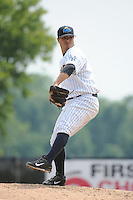 Trenton Thunder pitcher Manny Barreda (19) during game against the Akron RubberDucks at ARM & HAMMER Park on July 14, 2014 in Trenton, NJ.  Akron defeated Trenton 5-2.  (Tomasso DeRosa/Four Seam Images)