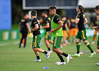 LAKE BUENA VISTA, FL - JULY 18: Andy Polo #7 of the Portland Timbers warms up during a game between Houston Dynamo and Portland Timbers at ESPN Wide World of Sports on July 18, 2020 in Lake Buena Vista, Florida.