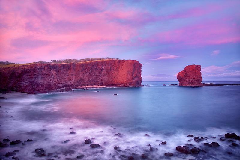 Sweetheart Rock at sunset. Lanai, Hawaii