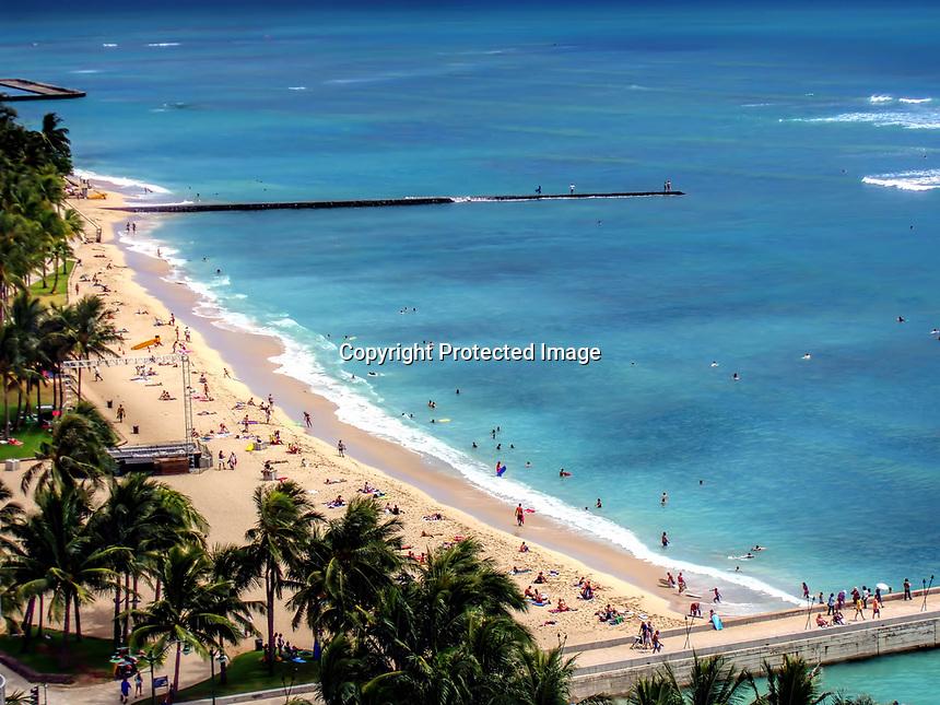 Waikiki Beach from a balcony at the Marriott Hotel. Honolulu, Oahu, Hawaii.