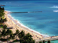 Waikiki Beach from a balcony at the Marriott Hotel. Honolulu, Oahu, Hawaii.