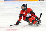 Pyeongchang, Korea, 10/3/2018- Dom Cozzolino of Canada plays Sweden in hockey during the 2018 Paralympic Games in PyeongChang. Photo Scott Grant/Canadian Paralympic Committee.