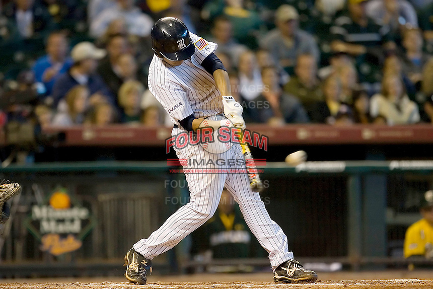 Anthony Rendon #23 of the Rice Owls connects for a 3-run home run in the 5th inning versus the Baylor Bears in the 2009 Houston College Classic at Minute Maid Park March 1, 2009 in Houston, TX.  The Owls defeated the Bears 8-3. (Photo by Brian Westerholt / Four Seam Images)