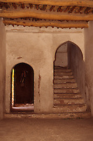 Dades Valley, Morocco - Interior Stairway, Om Haddache Kasbah, Traditional Construction Techniques.