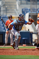 Tampa Bay Rays catcher Julio Meza (68) during a Florida Instructional League game against the Baltimore Orioles on October 1, 2018 at the Charlotte Sports Park in Port Charlotte, Florida.  (Mike Janes/Four Seam Images)