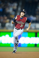 Ramon Flores (31) of the Scranton/Wilkes-Barre RailRiders hustles towards third base against the Durham Bulls at Durham Bulls Athletic Park on May 15, 2015 in Durham, North Carolina.  The RailRiders defeated the Bulls 8-4 in 11 innings.  (Brian Westerholt/Four Seam Images)