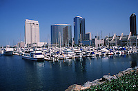 The Embarcadero Marina and waterfront view of the San Diego skyline. San Diego, California.