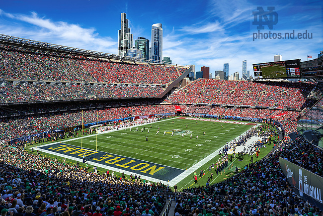 September 25, 2021; The Notre Dame Fighting Irish take on the Wisconsin Badgers at Soldier Field in Chicago for the 2021 Shamrock Series game. (photo by Matt Cashore/University of Notre Dame)