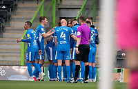 Barrow celebrate a goal   during the Sky Bet League 2 match between Forest Green Rovers and Barrow at The New Lawn, Nailsworth on Tuesday 27th April 2021. (Credit: Prime Media Images I MI News)
