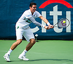 Milos Raonic (CAN) advances to his first Citi Open final after defeating Donald Young (USA) by 64 75 in Washington, DC on August 2, 2014.