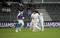 Pakistan players and spectators congratulate NZ captain Kane Williamson after his dismissal for 238 during day three of the second International Test Cricket match between the New Zealand Black Caps and Pakistan at Hagley Oval in Christchurch, New Zealand on Tuesday, 5 January 2021. Photo: Dave Lintott / lintottphoto.co.nz
