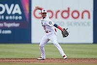 Kannapolis Cannon Ballers shortstop Jose Rodriguez (12) on defense against the Carolina Mudcats at Atrium Health Ballpark on June 13, 2021 in Kannapolis, North Carolina. (Brian Westerholt/Four Seam Images)