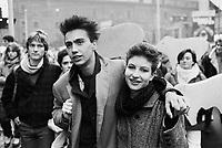 - Milan, student demonstration against law on the sexual violence (December 1984)..- Milano, manifestazione studentesca contro legge sulla violenza sessuale (dicembre 1984)