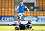 St Johnstone v Ross County…24.02.18…  McDiarmid Park    SPFL<br />Chris Kane is tackled by Liam Fontaine<br />Picture by Graeme Hart. <br />Copyright Perthshire Picture Agency<br />Tel: 01738 623350  Mobile: 07990 594431