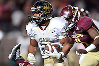 Idaho running back Kristoffer Olugbode (21) runs with the ball during second half of an NCAA Football game, Saturday, October 04, 2014 in San Marcos, Tex. Texas State defeated Idaho 35-30. (Mo Khursheed/TFV Media via AP Images)