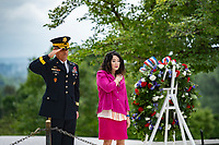 Karen Durham-Aguilera (right), executive director, Office of Army Cemeteries, and Maj. Gen. Maj. Gen. Omar Jones IV (left), commanding general, U.S. Army Military District of Washington, participate in an Wreath-Laying Ceremony at President John F. Kennedy's gravesite in Arlington National Cemetery, Arlington, Virginia, May 29, 2020. The wreath-laying marked Kennedy's 103rd birthday. (U.S. Army photo by Elizabeth Fraser / Arlington National Cemetery / released)