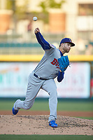 Buffalo Bisons starting pitcher T.J. Zeuch (27) delivers a pitch to the plate against the Charlotte Knights at BB&T BallPark on July 24, 2019 in Charlotte, North Carolina. The Bisons defeated the Knights 8-4. (Brian Westerholt/Four Seam Images)