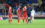 UEFA European Championship at Cardiff City Stadium - Wales v Cyprus : <br /> Gareth Bale of Wales argues with the referee after Andy King was sent off.