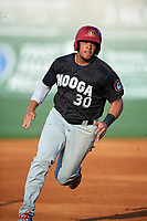 Chattanooga Lookouts first baseman Jonathan Rodriguez (30) runs the bases during a game against the Jackson Generals on April 29, 2017 at The Ballpark at Jackson in Jackson, Tennessee.  Jackson defeated Chattanooga 7-4.  (Mike Janes/Four Seam Images)