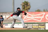 Cody Reed (27) of the Visalia Rawhide pitches against the Inland Empire 66ers at San Manuel Stadium on June 26, 2016 in San Bernardino, California. Inland Empire defeated Visalia, 5-1. (Larry Goren/Four Seam Images)