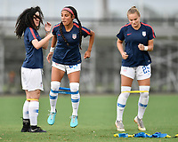 Lakewood Ranch, FL - Wednesday, October 10, 2018:   Samantha Meza warms up prior to a U-17 USWNT match against Colombia.  The U-17 USWNT defeated Colombia 4-1.