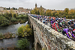 The start of Stage 16 of the Vuelta Espana 2020, running 160km from Salamanca to Ciudad Rodrigo, Spain. 6th November 2020. <br /> Picture: Unipublic/Charly Lopez | Cyclefile<br /> <br /> All photos usage must carry mandatory copyright credit (© Cyclefile | Unipublic/Charly Lopez)