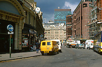 London:  Looking West on Liverpool St. from Bishopsgate.  Photo '90.