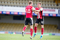 Alex Fisher of Exeter City celebrates his stoppage time equalising goal with Archie Collins of Exeter City during Southend United vs Exeter City, Sky Bet EFL League 2 Football at Roots Hall on 10th October 2020